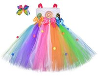 Wholesale baby girls rainbow ball gowns resale online - Christmas rainbow girls dresses bows hair clips birthday party baby girls dress kids princess dress girls tutu dresses retail A8699