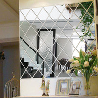 Wholesale tiles wall art for sale - Group buy 50 cm Geometric Acrylic Mirror Wall Stickers DIY Art Wall Stickers Home Decor Living Room Large Mirrored Decorative Sticker