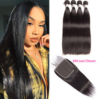 Indian Virgin Hair Extensions 8-28inch Silky Straight 4 Bundles With 6X6 Lace Closure With Baby Hair Straight Virgin Hair Wefts With 6 By 6