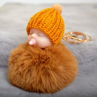 Wholesale baby dolls pacifiers resale online - Cute Doll Keychain Pacifier Sleeping Baby Keyring Lovely Doll Plush Fur Ball Keychains Luxury Keychain Bag Handbag Key chain