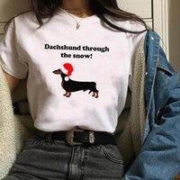 рождественская одежда для женской собаки оптовых-Женская Собака Теплый смазливая печати с коротким рукавом Одежда Рождеством Женщина Tshirt Женский Kawaii T Tee Shirt тенниска Женщины Топы