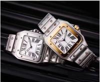 Wholesale geneva watch quartz resale online - Casual Men Square Watches Geneva Genuine Stainless Steel Quartz Watches Fashion Mens Watches Male Wristwatch