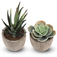 мини бонсай украшение оптовых-2Pcs Miniature Artificial Succulent Potted Plants Decoration Mini Fake Bonsai Plant