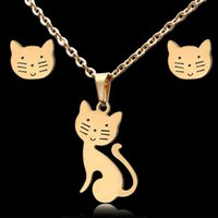 gold neckace groihandel-High Quality Cute Animal Cat Couple Pendant Necklace Gold Stainless Steel Neckace with earrings Women Fashion Lucky Pet Jewelry Accessories