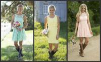 ingrosso abiti da damigella d'onore del paese giallo-2019 New Yellow Pink Blue Lace Abiti da damigella d'onore Mixed Style Formal Dress For Junior Abiti da damigella d'onore in stile country