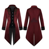 victoria cosplay venda por atacado-Tailcoat Jacket Moda Masculina Goth Victoria Steampunk Frock Vintage dos homens camada uniforme Cosplay Outwear