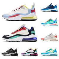hafif nefes alabilen koşu ayakkabıları toptan satış-nike air max 270 react Yeni varış hava tepki erkekler koşu ayakkabı en kaliteli üçlü siyah beyaz gri moda erkek eğitmenler nefes spor sneakers