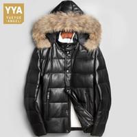 ingrosso uomini di giacca con cappuccio in pelle di pecora-Italia Designer Piumini in vera pelle di montone Colletto in pelliccia da uomo Plus Size 4XL Cappotti in vera pelle Uomo Abbigliamento invernale