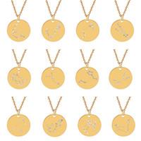 collar de acero del zodiaco al por mayor-12 Constelación Collar Crystal Zodiac Collar Collares de monedas de acero inoxidable Colgantes Joyería de moda Will y Sandy Drop ship