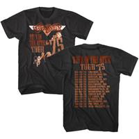 camisa oficial homens venda por atacado-OFFICIAL Aerosmith Brinquedos no Sótão Turnê 1975 T-shirt dos homens da Banda de Rock Merch Roupas Masculinas T-shirt de Manga Curta Masculina