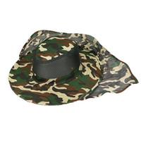 ingrosso feltro di legame di arco-Boonie Hat Sport Camouflage Jungle Military Cap Adulti Uomini Donne Cowboy Tesa larga cappelli per la pesca Packable secchio cappello dell'esercito