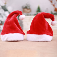 Wholesale women plush costume resale online - Fashion Adult Christmas Santa Hat Soft Red Plush Party Beanie Hat Classic Party Xmas Costume Christmas Decoration Gift TTA1602