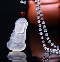 Wholesale male female love dolls resale online - Natural high ice chalcedony dolls Pendant Necklace male and female Sakyamuni mani Buddha great day Tathagata