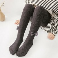 Girl Classic Kids Cotton Socks Tights School High Knee Gridding Bow Stockings YJ