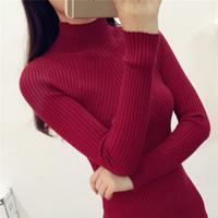 2019 Ladies Half Turtleneck Sweaters In Winter Female Long Sleeved Long Sleeve Head Thickened Slim Female Coat Shirt