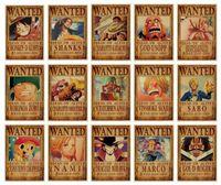 mur autocollant d'une seule pièce achat en gros de-Luffy One Piece Wanted Affiche Anime One Piece Wanted Affiche Affiche Vintage Kraft Papier Peinture Décorative Papier Affiches Sticker Mural Zoro