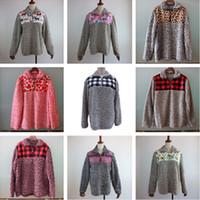 lã berberland feminino venda por atacado-Mulheres Sherpa Pullovers Berber Fleece Hoodies Floral manta de retalhos camisola Esporte Casual Tops Plush Blusas Inverno Outwear Brasão C91706