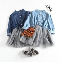 kinder blaues langes kleid 6t großhandel-Mädchen Blue Jeans Kleid Tutu Kleid Bluse Langarm Kleid Kinder Lässige Hose Mesh Schichten Ärmelloses Ballkleid LJJV266