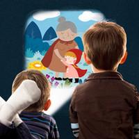 lider parti çubukları toptan satış-Yenilik Aydınlık Komik oyuncak LED Gece Lambası el feneri ışık uyku erken eğitim hikaye projeksiyon Oyuncaklar Çocuklar Için