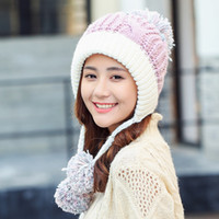 a767806db1d652 2019 New Women Knitted Hat Warm Thick Skullies Hat Three Pom Pom Ski Cap  Cute Winter Beanie Caps For Girls