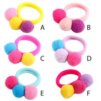 Wholesale towel hair bands for sale - Group buy Children Girl No Crease Scrunchies Bright Candy Colored Pompom Ball Hair Tie Rubber Band Princess Seamless Towel Ponytail Holder