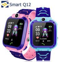 kamera gps saatler toptan satış-Çocuklar Için akıllı İzle Q12 Çocuk GPS Öğrenci Akıllı Bilek Saatler Smartwatch Android IOS Için kamera SOS IP67 SIM Çağrı En Iyi Hediye PK DZ09 GT08
