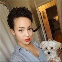ingrosso parrucca piena di curl kinky-Parrucca afro-americana riccia crespi ricci capelli corti parrucca piena parrucca per le donne nere parrucca senza capelli