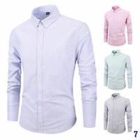 camisas de vestir oxford para hombre al por mayor-Giro del otoño nuevos rayó Oxford hombres de manga larga para hombre Camisa de lujo de los hombres delgado diseñador de la camisa de vestir de hombre Ropa Camisas tamaño S-4XL7