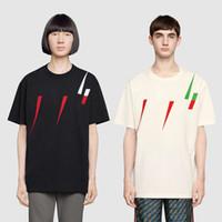 lâminas mens venda por atacado-Nova moda mens designer de camisetas homens de manga curta T-shirt com Logo Blade imprimir mulheres t-shirt masculino de alta qualidade 100% algodão top tees