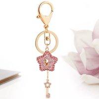 kalp anahtar zincir elmas taklidi toptan satış-Yaratıcı kristal beş köşeli yıldız anahtar kolye rhinestone metal yıldız araba anahtarlık aşk kalp moda çanta asılı anahtar zincirleri