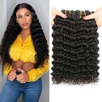 doğal gevşek kıvırcık saç uzantıları toptan satış-Musi Saç Perulu Virgin İnsan Saç Gevşek Dalga Demetleri 8-28 inç 100% Işlenmemiş Brezilyalı Derin Kıvırcık İnsan Saç Uzatma doğal Renk 1B