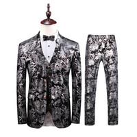 свадебные платья оптовых-Business Formal Wear Tuxedo 3PC Men Suit Plus Size Wedding Dress Suit Men Costume Homme Blazer 2019 Mens Floral Suits Mens