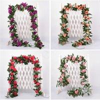 künstliche reben großhandel-2.2m künstliche Blumen-Rebe-Fälschungs-Silk Rose Efeu-Blume für Hochzeit Dekoration Künstliche Reben Hängende Garland Home Decor