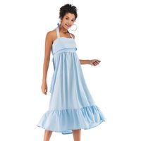 pajarita azul mujer al por mayor-Halter Backless Tie Bow Vestido Mujer Midi Vestidos Verano Dulce Azul Vestido puro Volantes Sin mangas Vacaciones Ropa de playa