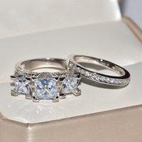 conjuntos de joyas de novia zirconia al por mayor-925silver blanco nupcial conjunto de anillos de boda joyería de moda promesa CZ piedra anillos de compromiso para las mujeres