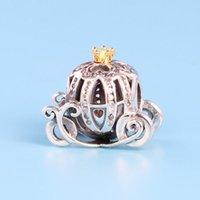 diy kabak kutusu toptan satış-YENI Otantik 925 Ayar Gümüş kabak Charm Seti Orijinal Kutusu Pandora DIY Bilezik için Kristal Boncuk Charms klasik moda aksesuarları