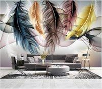 Wholesale wall paintings for drawing room resale online - Custom Photo Wallpaper For Walls D mural wallpapers Small fresh hand drawn feather living room mural sofa background wall painting decor