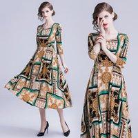 ingrosso bellissime signore abbigliamento-Abbigliamento da donna di alta moda per il vestito retrò di fascia alta per la signora Moda Bella stampa girocollo abiti da donna grande vita