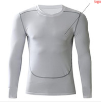 Wholesale tight gym shirts men resale online - NEW autumn winter active sport tights running jogging GYM Fitness bodybuilding basketball soccer long sleeve t shirts men