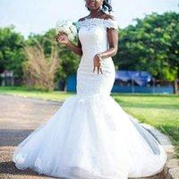 bonitos apliques de encaje al por mayor-Bastante diseñador de la sirena de la boda africana vestidos de País 2020 del hombro con el vestido de novia de mangas de encaje apliques vestidos de novia barato
