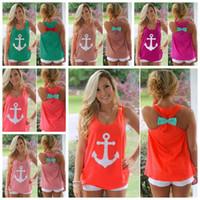 gilet femme marine achat en gros de-Marine Bowknot Réservoirs 17 Styles Femmes D'été Tops Col Rond Sans Manches Chemisier T-shirt Casual Vest OOA6739