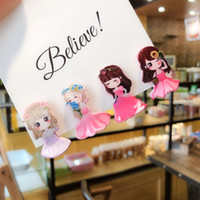 Wholesale cartoon princess paintings resale online - Cute cartoon princess hairpin children bangs clip baby hair clip painted little girl head jewelry