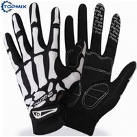 Wholesale skull cycling gloves resale online - Men Women Skull Graffiti Cycling Gloves Non slip Silicone Motorcycle Bike Gloves Full Finger Riding Motorbike Sports