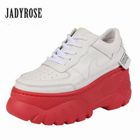 lianes zapatos achat en gros de-Jady Rose Mode Blanc Femmes Sneakers 8CM Plate-forme Chaussures Casual Chaussures plates Femme Espadrilles Baskets Creepers Zapatos Mujer