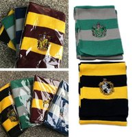 Wholesale novelty badges resale online - Newest Colors Scarves College Scarf Harry Potter Scarves Gryffindor Series Scarf With Badge Cosplay Knit Scarves Halloween Costumes