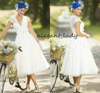 Wholesale sexy beach wedding dresses for sale - 2019 Vintage Lace Short Country Wedding Dresses Cap Sleeve Tea Length Summer Beach Bridal Dresses Sexy V Neck Bridal Gowns
