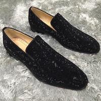 kırmızı şık ayakkabılar toptan satış-Zarif Tasarımcı Düğün Parti Elbise Spike Kırmızı Alt Loafer'lar Ayakkabı erkek Parlak Mocassin Iş Rahat Oxford Yürüyüş Ayakkabıları 38-46