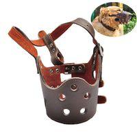 küçük maskeler toptan satış-Ayarlanabilir Nefes Maskesi PU Deri Pet Köpek Namlu Anti Bark Bite Küçük Büyük Köpekler için Pet Köpek Chew Emniyet Maske XS-XL