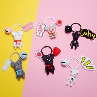 Wholesale rubber keychains cute resale online - Gloomy Bear Cartoon Bomgom Popobe keychains Mouse Cute Keychain Charm Resin Key Chain Bag Pendant AirPods Accessories Key Ring
