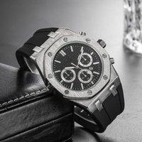 movimiento de cuarzo precio relojes al por mayor-19 Precio barato al por mayor para hombre deporte reloj de pulsera de 45 mm movimiento de cuarzo reloj masculino con reloj de goma en alta mar